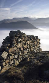 Lake District dry stone wall and ridges in summer