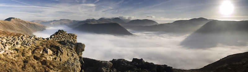 Cloud inversion and Lake District ridges
