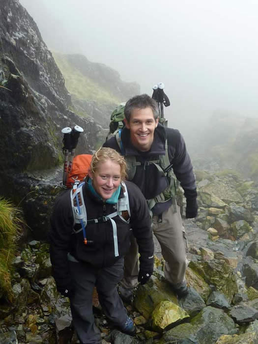 Srambling up Mickledore on scafell Pike