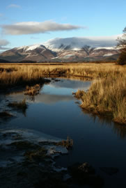 Snow-capped Skiddaw from River Derwent