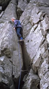 Climbing out of the Thearlaich Dubh Gap