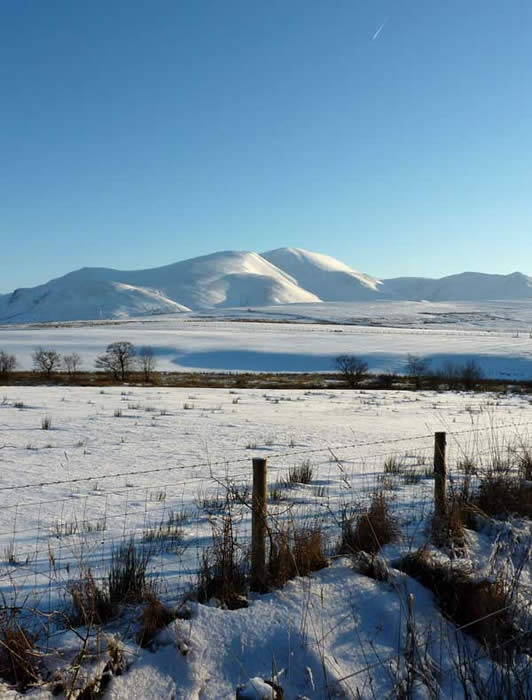 View of the Skiddaw massif in wintertime